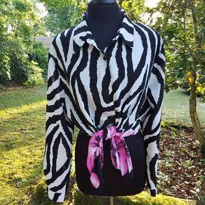 Floral Zebra Print Blouse